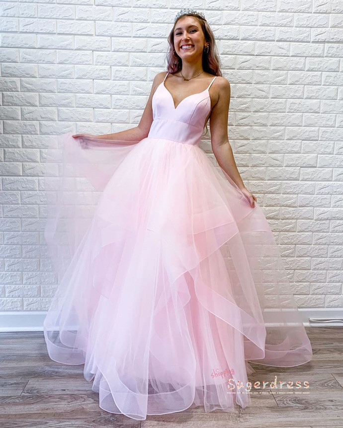 Simple Ruffled Baby Pink Prom Dress 8002115