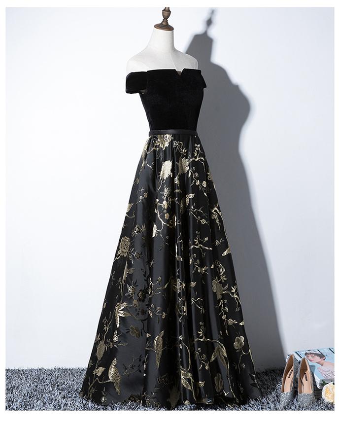 Beautiful Black Satin Floral Bridesmaid Dress, New Off Shoulder Formal Dress
