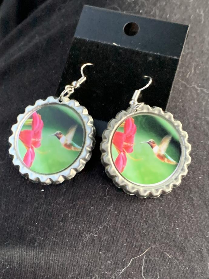 Custom designed hummingbird dangle earrings