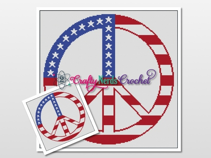 Peace Sign US Flag Pattern Graph With Single Crochet Written