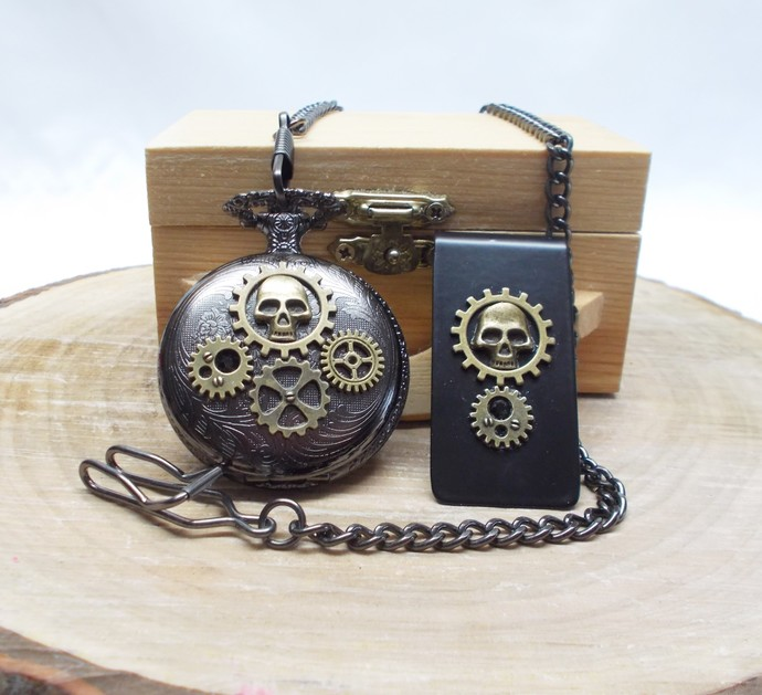 Pocket Watch and Money Clip Set Skull Design Black Bronze Steampunk Style Gift