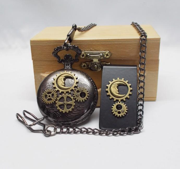 Pocket Watch and Money Clip Set Moon Design Black Bronze Steampunk Style Gift