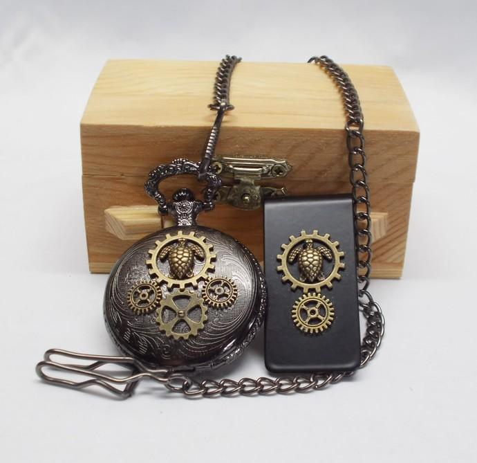 Pocket Watch and Money Clip Set Turtle Design Black Bronze Steampunk Style Gift