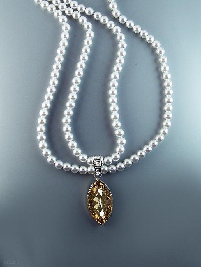 Golden Teardrop Necklace Swarovski Crystal White Pearls Double Strand