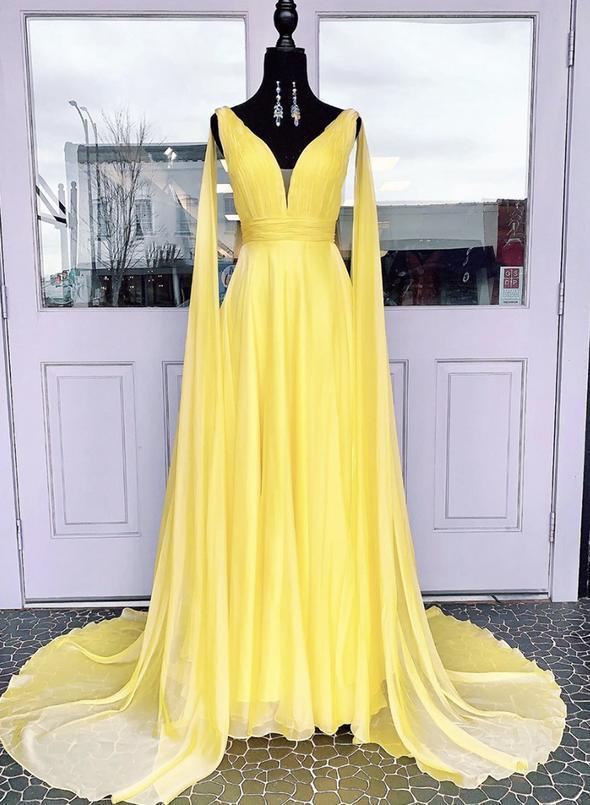 Yellow v neck chiffon prom dress evening dress 1862