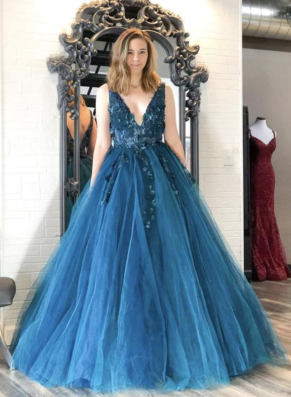 Blue v neck tulle lace long prom gowns 1868