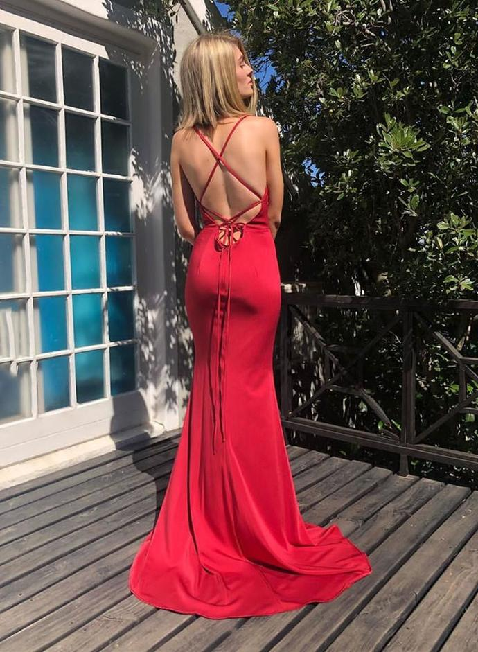 Red backless prom dress mermaid evening dress 1869