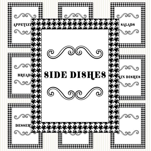 Printable Recipe Binder Kit_Black & White Houndstooth Pattern