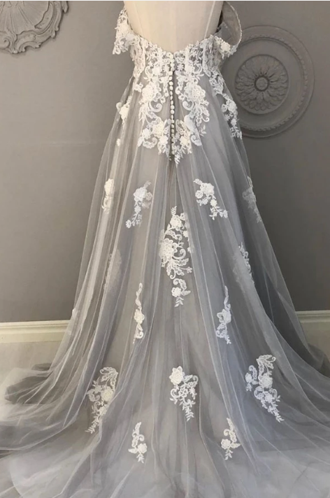 Gray tulle lace long prom dress gray tulle lace formal dress 1879