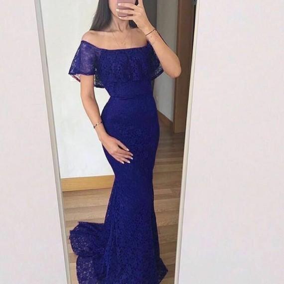 Mermaid Off-the-Shoulder Sweep Train Burgundy Lace Prom Dress 1882