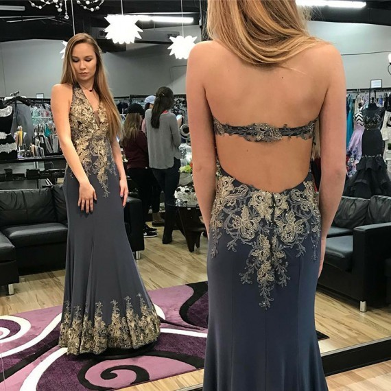 Mermaid Halter Backless Long Grey Prom Dress with Appliques 1884