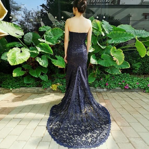 Mermaid Sweetheart Navy Blue Long Prom Dress Lace Evening Dress 1892