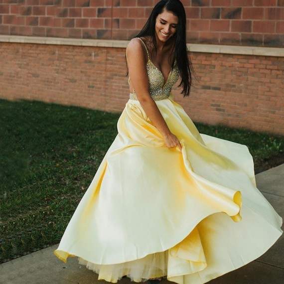 A Line Spaghetti Straps Backless Yellow Prom Dress With Beading 1896