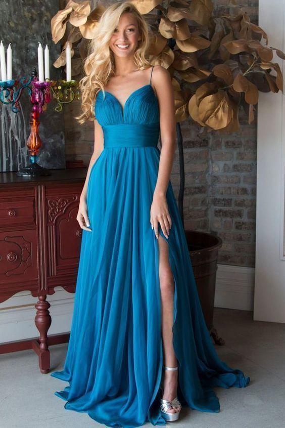 A-Line Spaghetti Straps Sweep Train Turquoise Chiffon Prom Dress with Split 1898