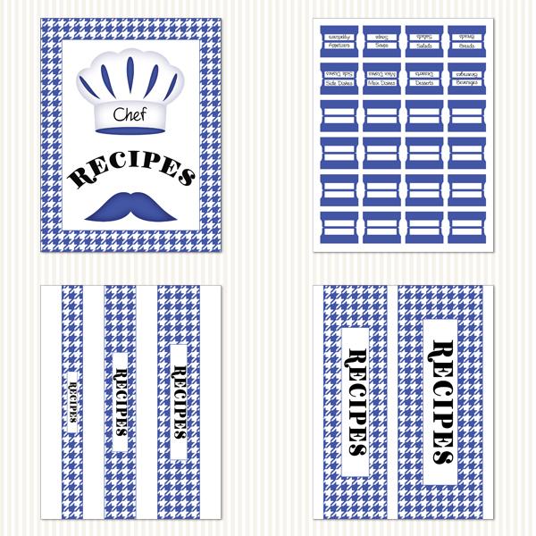 Printable Recipe Binder Kit_Blue & White Houndstooth Pattern