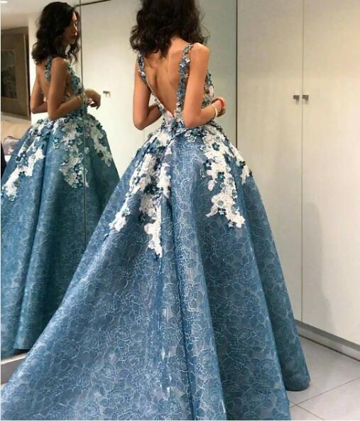 high low prom dress ball gown lace appliqué elegant dusty blue cheap prom gown