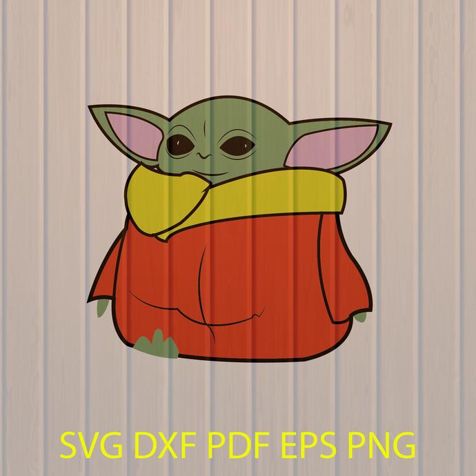 Baby Yoda SVG, Yoda Mandalorian Clipart, Star Wars, PNG, Dxf, Cutting File, baby