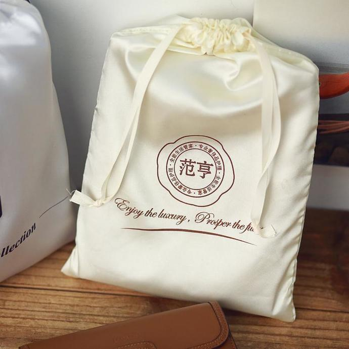 Custom Stain Silk bags with LOGO Dust Drawstring pouch Personalize leather