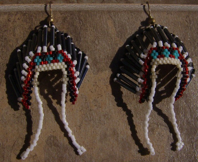Headdress Earrings Hand Made Seed Beaded Bead Work