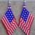 USA Flag Earrings Hand Made Seed Beaded Bead Work