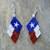 Texas Flag Earrings Hand Made Seed Beaded Bead Work