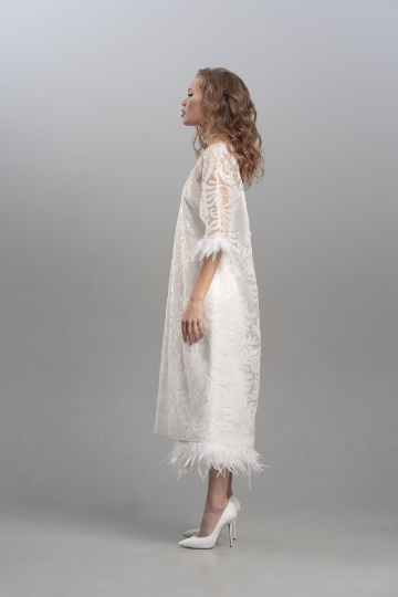 Feather wedding dress, Silk dress with feathered hemline plus an add on lace