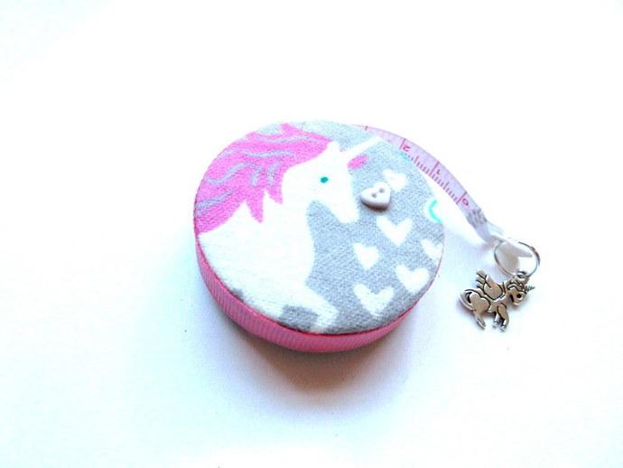 Tape Measure Hearts and Unicorns Small Retractable Measuring Tape