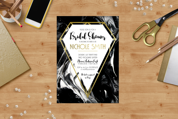 Marble and Gold Foil Bridal Shower Invitation