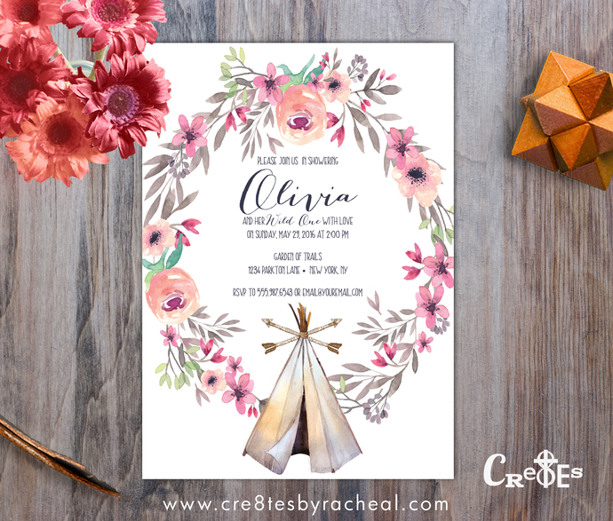 Boho Teepee Watercolor Floral Baby Shower Invitation