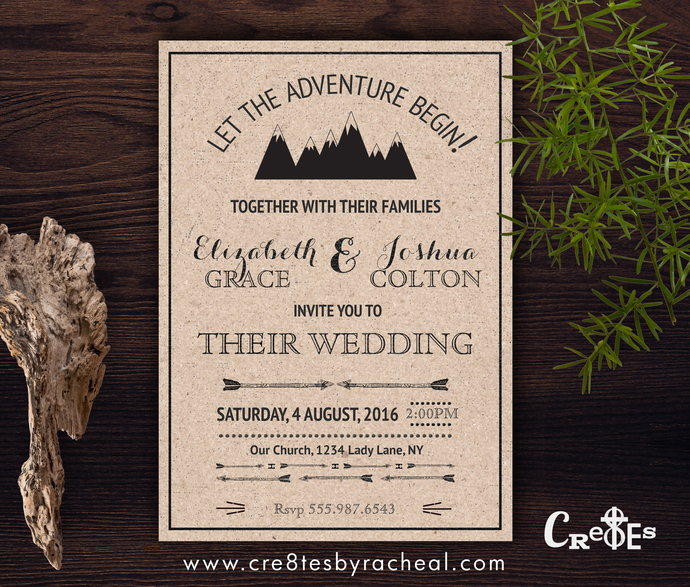 Outdoor Adventure Modern Rustic Mountains Wedding Invitation