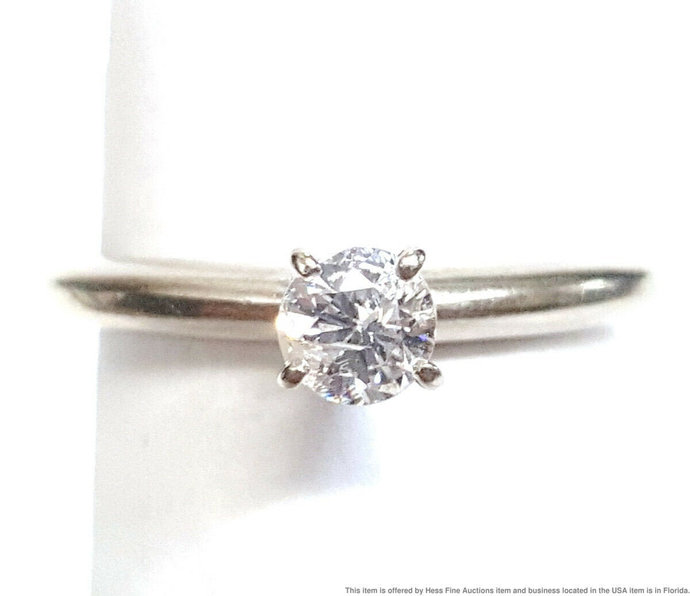 14K White Gold 0.25ct Center Diamond Ring