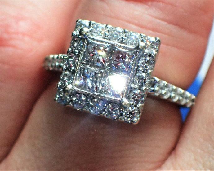 Princess Cut Diamond Illusion Cluster Halo 14K Engagement RING 1.65TCW