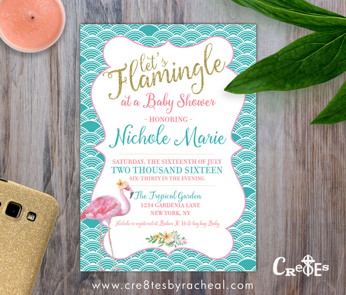 Flamingo Pink and Blue Tropical Baby Shower Invitation