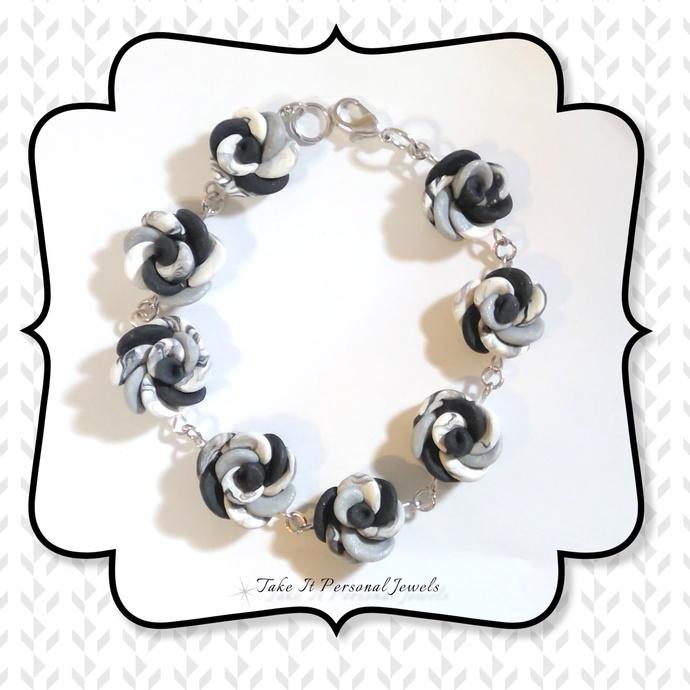 Black White Flower Handmade Bracelet Polymer Clay Art