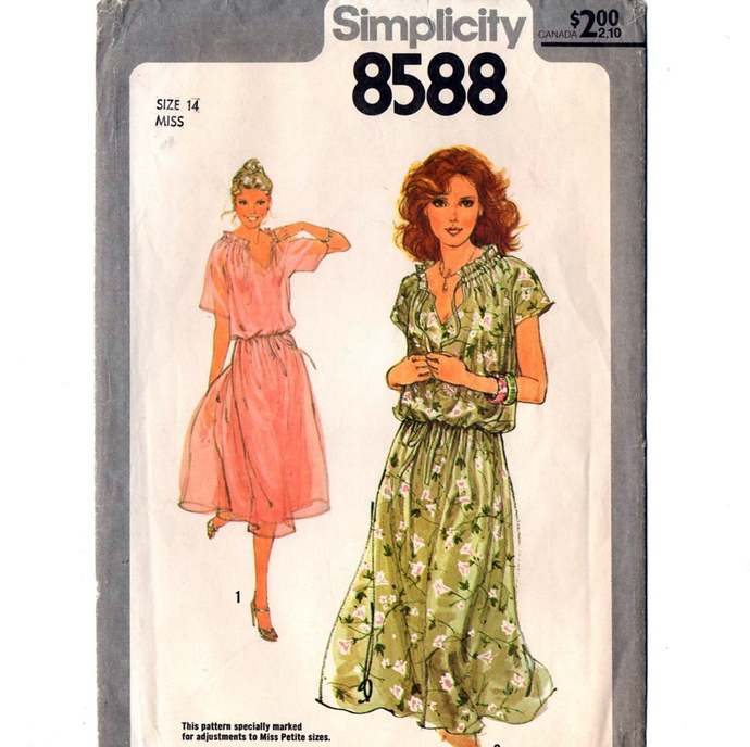 Simplicity 8588 Misses Pullover Summer Dress 70s Vintage Sewing Pattern Size 14
