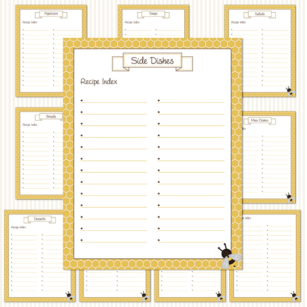 Printable Recipe Binder Kit_Honeycomb Pattern