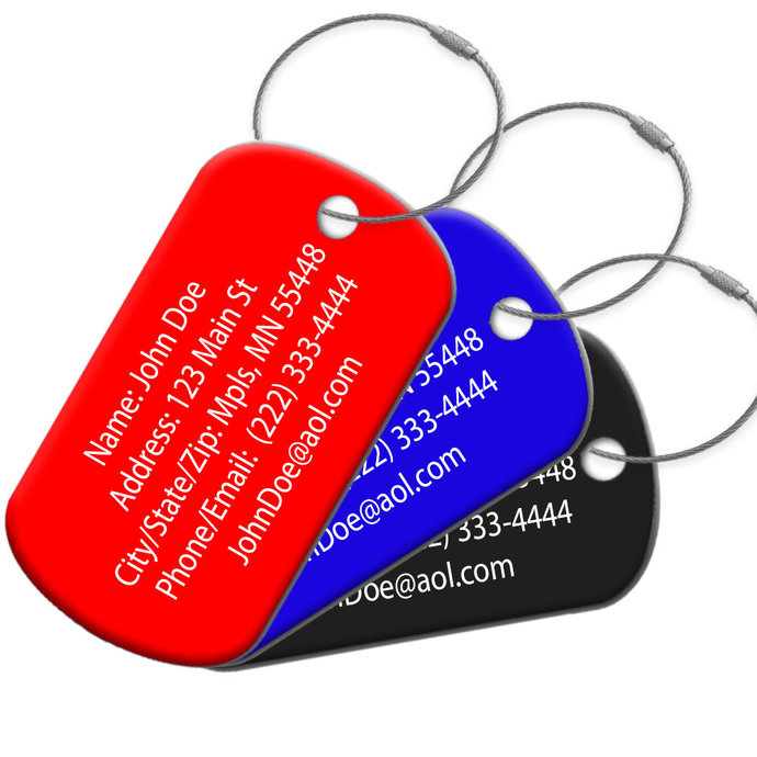 Durable Rust Resistant Luggage Tags with Wire Ring. Personalization Included!