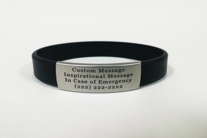Engraved Silicone ID Bracelets for Men, Women, Children. Choose your Color!