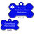 Customized Medical ID Pet ID Bone Shaped Stainless Steel Dog, Black, Blue, Red