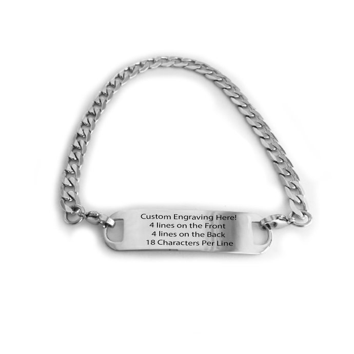 Engraved Polished Stainless Steel Silver Traditional Curb Link Alert ID Bracelet
