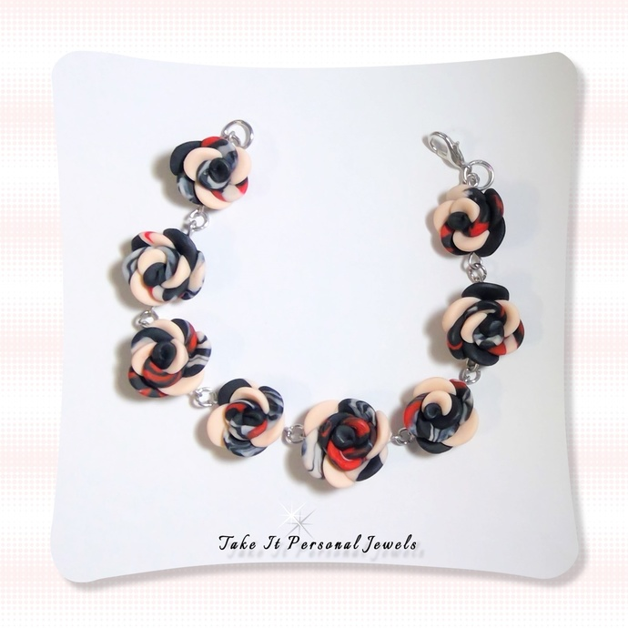 Womens Handmade Rose Bracelet Multi Color Polymer Clay Creation