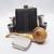 Flask Set and Tobacco Pipe in Gift Box Crossbones Artisan Design Black Bronze
