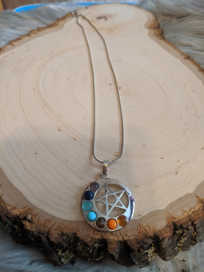 Chakra Necklace Over the Moon Body Chakra Stones and Star of David