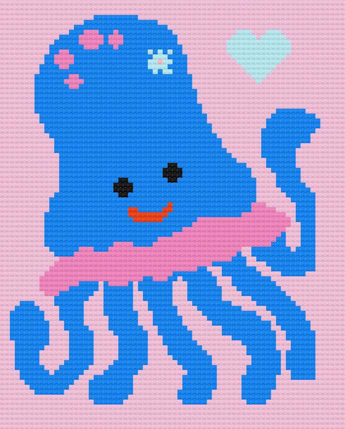 Baby Jellyfish Love Corner to Corner Crochet Pattern Graph PDF Girl Blanket