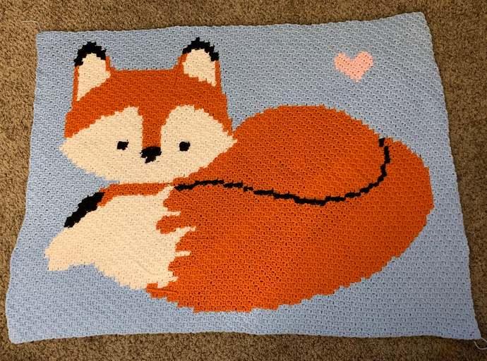 Baby Fox Love Crochet Pattern PDF C2C Graphghan Graph Baby Boy Blanket Afghan
