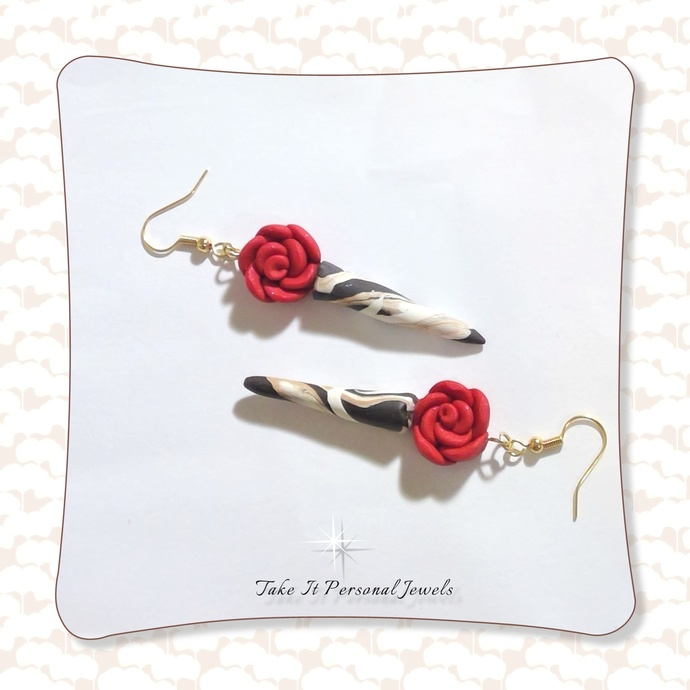 Red Rose Dagger Earrings Handmade Valentine's Day