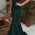 Mermaid Dark Green Strapless Sleeveless Sweep Train Prom Dress