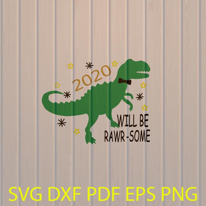 Kids New Year's Svg, New Year's 2020 Svg, New Years Dino Svg, Boy New Years