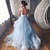 Sky Blue Tulle Formal Prom Dress, Lace Appliques Evening Dress