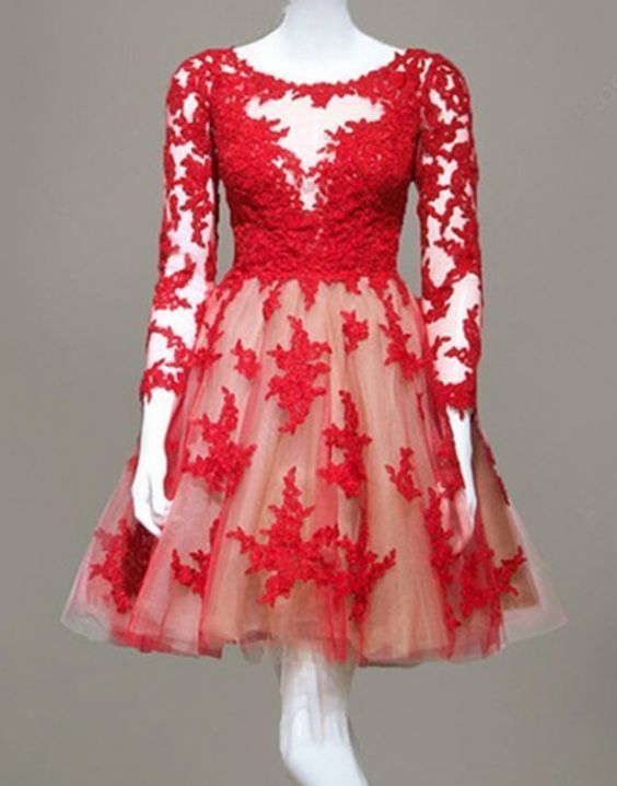 Red Appliques Tulle Short Homecoming Dress, A Line Homecoming Dresses